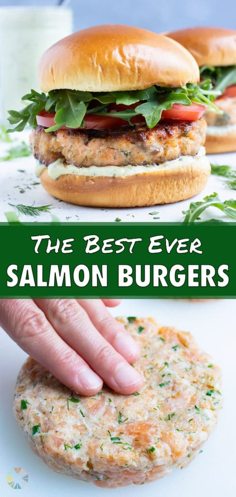 Two salmon burgers are set on the counter.