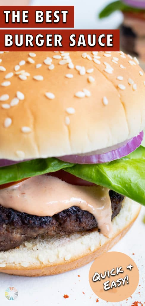 A hamburger is loaded with the copycat McDonalds sauce.