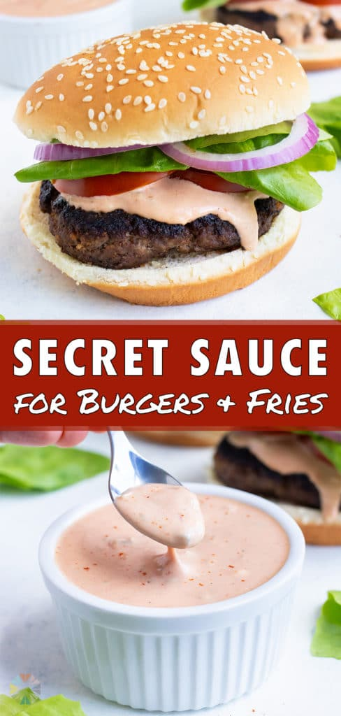 Special sauce is served by a spoon onto hamburgers.