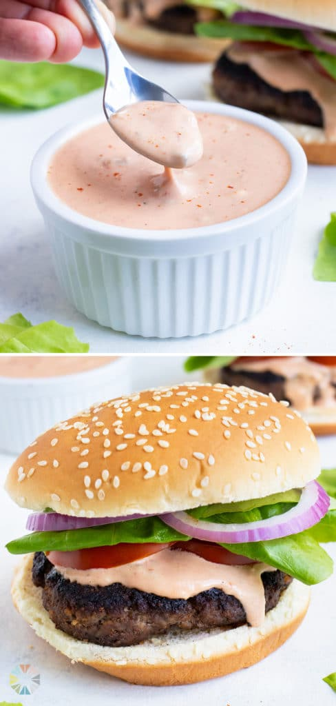 Secret sauce is spread on a burger and served for dinner.