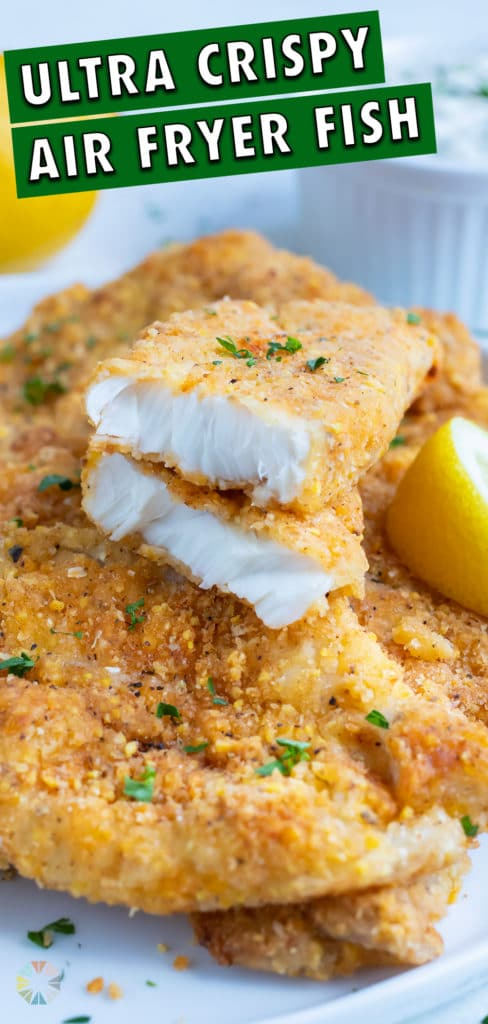 Tender air fryer fish is stacked on top of each other in this picture.