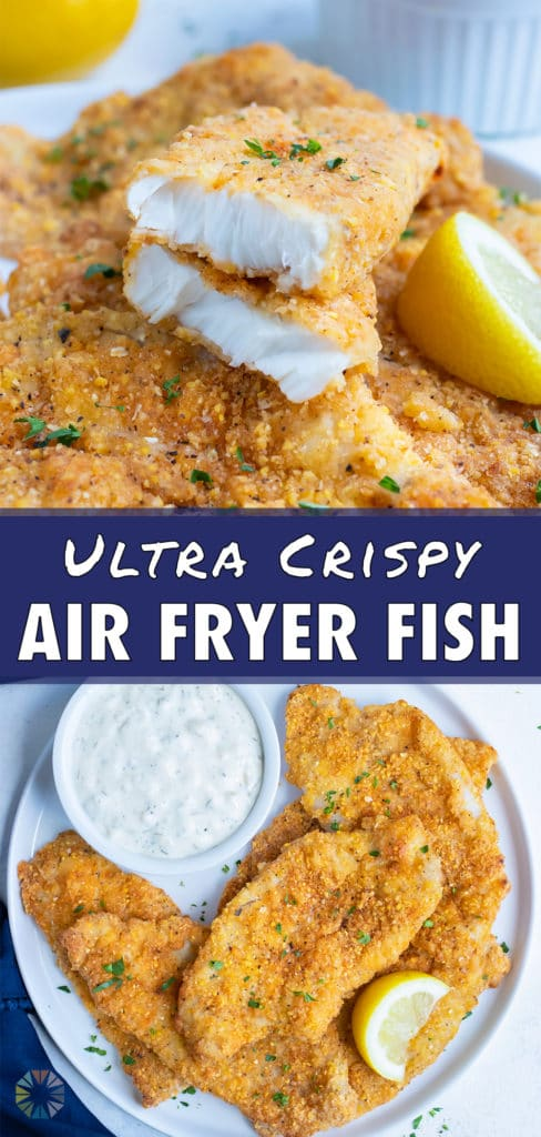 Crispy air fryer fish is served on a white plate with fresh lemon and tartar sauce.
