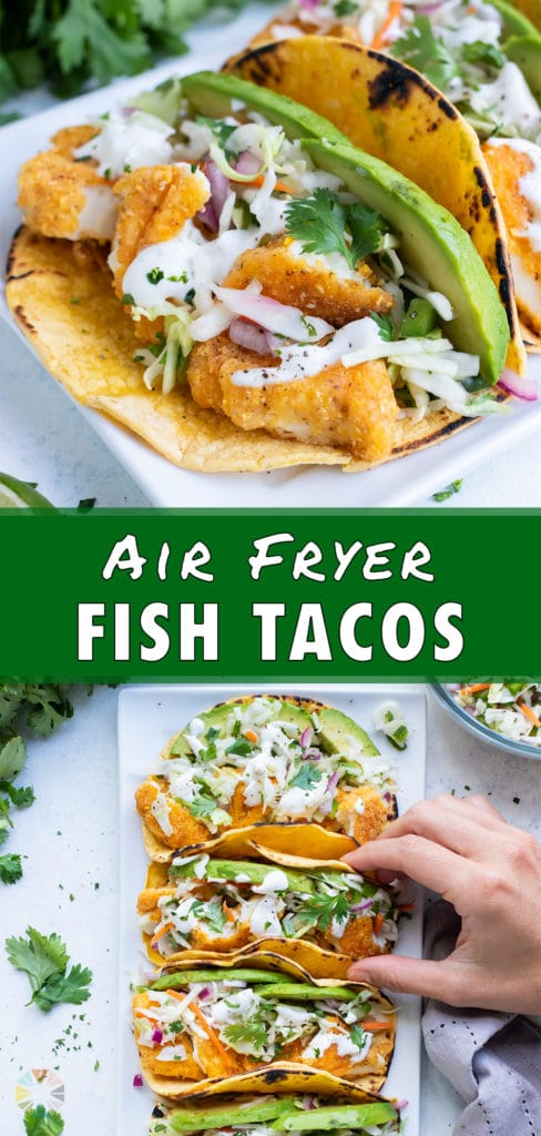 Air fryer fish tacos are all lined up on a plate.