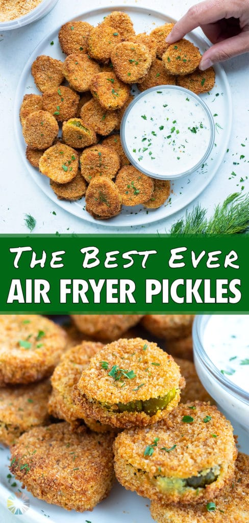 A plate of air fryer pickles is served for an appetizer.
