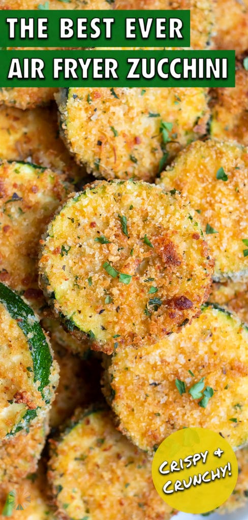 A pile of air fryer zucchini chips are shown for a healthy gluten-free appetizer.