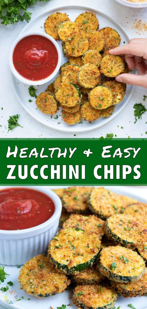 A zucchini chip is dipped in ketchup.