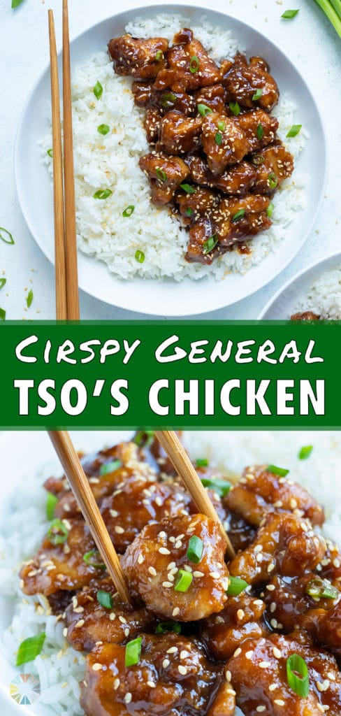 Sweet and spicy General Tao chicken is topped with sesame seeds and green onions.