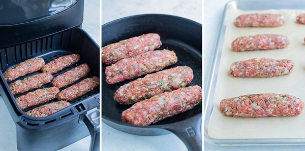 Side by side pictures show how to cook Lamb Kofta Kebabs.