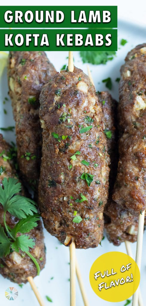 The Lamb Kofta is plated for a healthy meal.