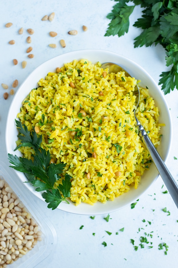 Fresh herbs are topped on the Greek Pilaf.