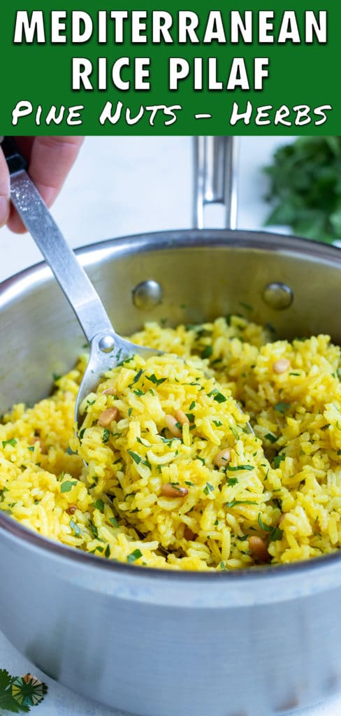 A pot of yellow rice is served for a healthy side dish.