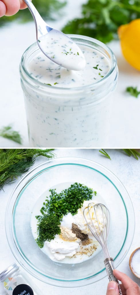 The ranch dressing is lifted up by a spoon.