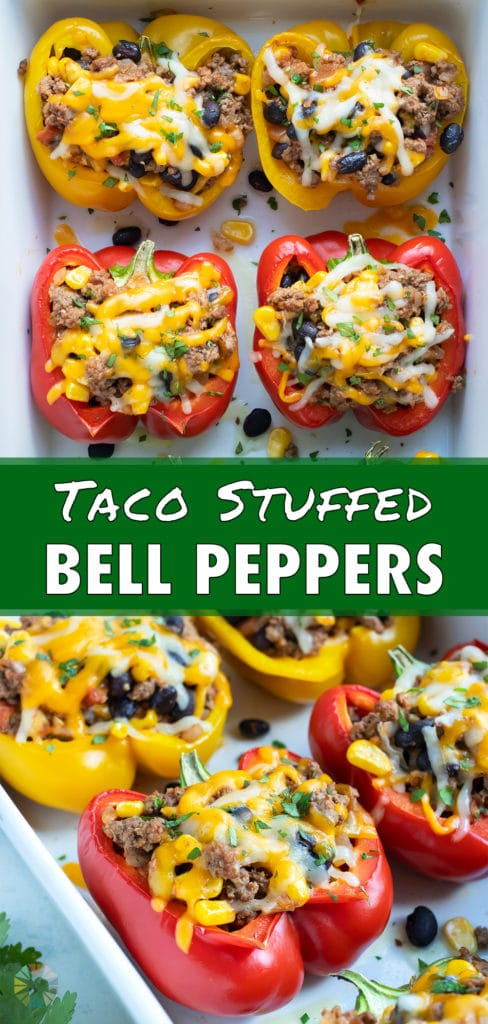 Keto-friendly stuffed bell peppers are served after being baked in the oven.
