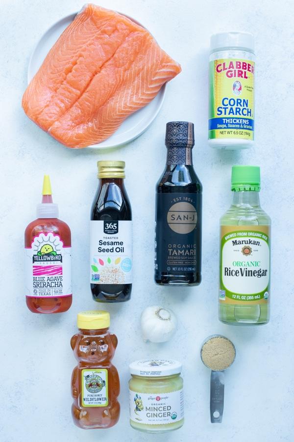 Salmon, honey, brown sugar, sriracha, sory sauce, garlic,