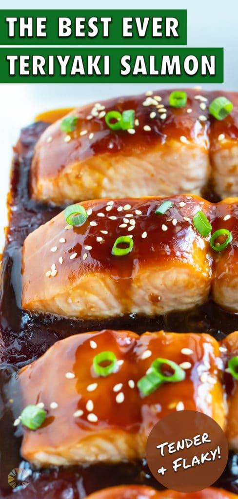 Teriyaki salmon is covered with sweet and tangy teriyaki sauce and sesame seeds.