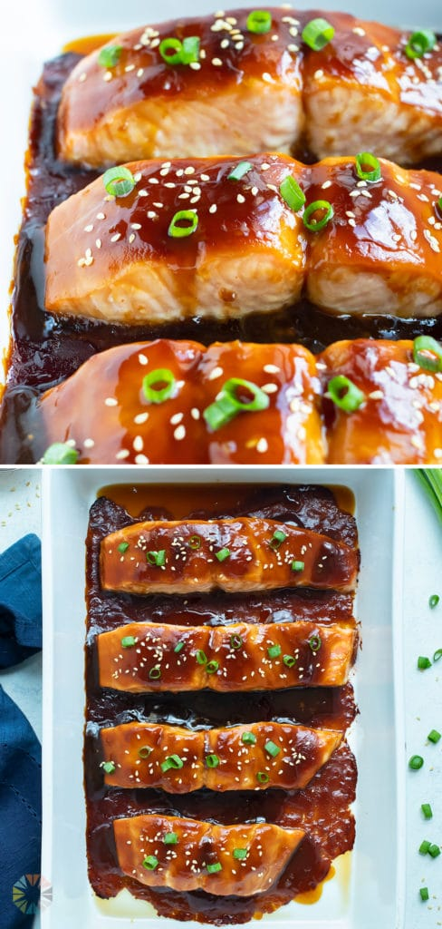 The cooked teriyaki salmon is toped with fresh green onions and sesame seeds.