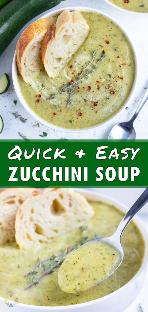 Zucchini soup is served in a white bowl with bread.