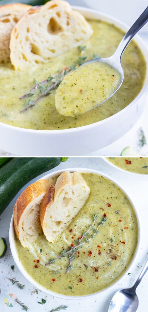 Healthy zucchini soup is served cold for a light appetizer.