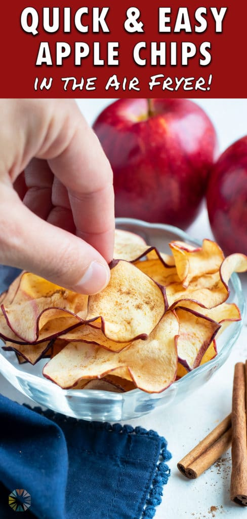 Kid-friendly apple chips are served in a bowl.