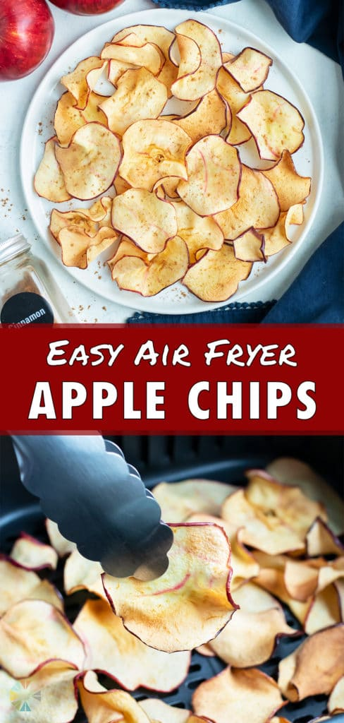 A bowl is used to serve healthy and crispy air fryer apple chips.