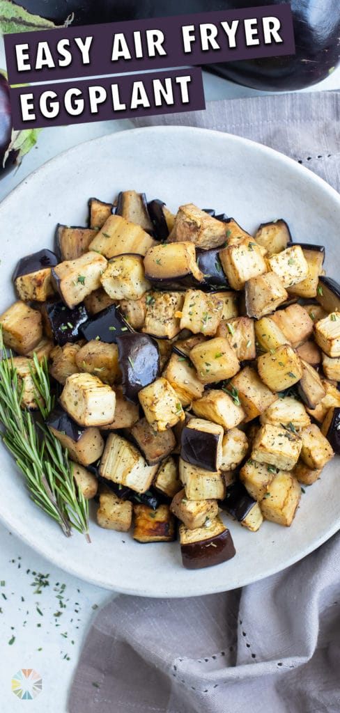 A bowl of air fryer eggplant is shown for a healthy side dish.