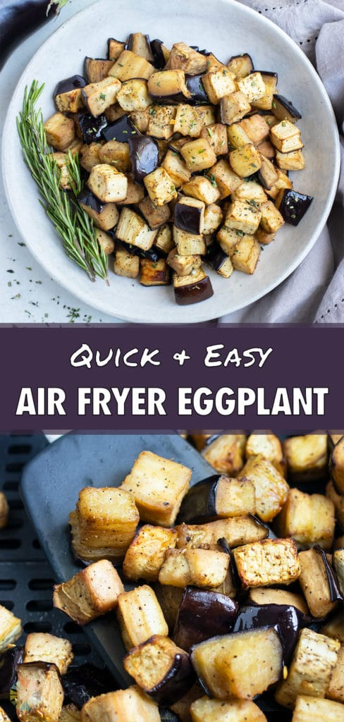 Crispy cubed eggplant is enjoyed from a white bowl with fresh herbs.