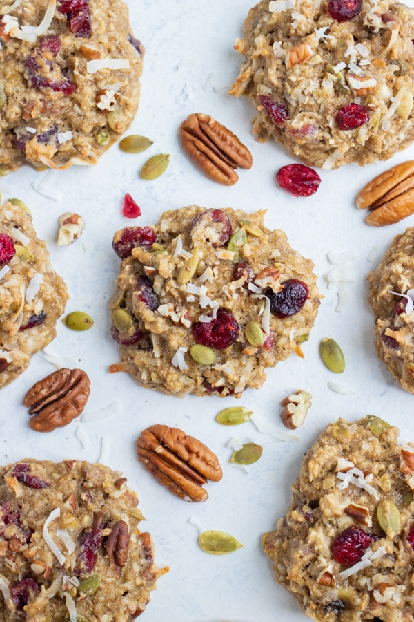 Healthy breakfast cookies are shown on the counter.