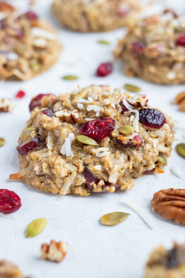 Breakfast Cookies are loaded with raisins, nuts, and shredded coconut.