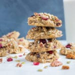 Oatmeal breakfast cookies are stacked on the counter for an easy breakfast recipe.