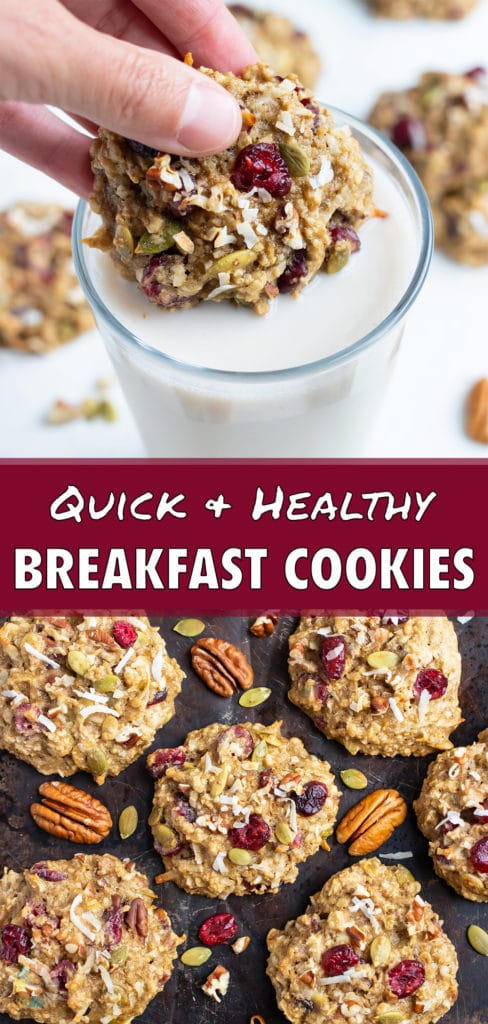 These breakfast cookies are loaded with healthy ingredients.