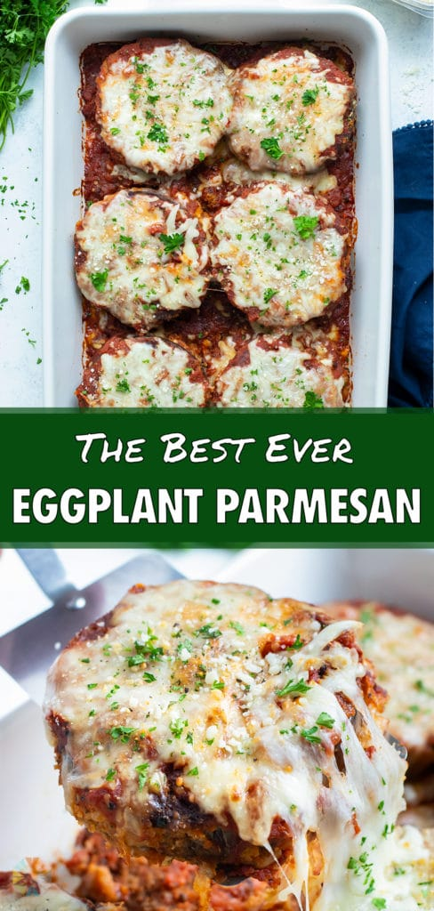Meatless eggplant parmesan is shown in a baking dish.