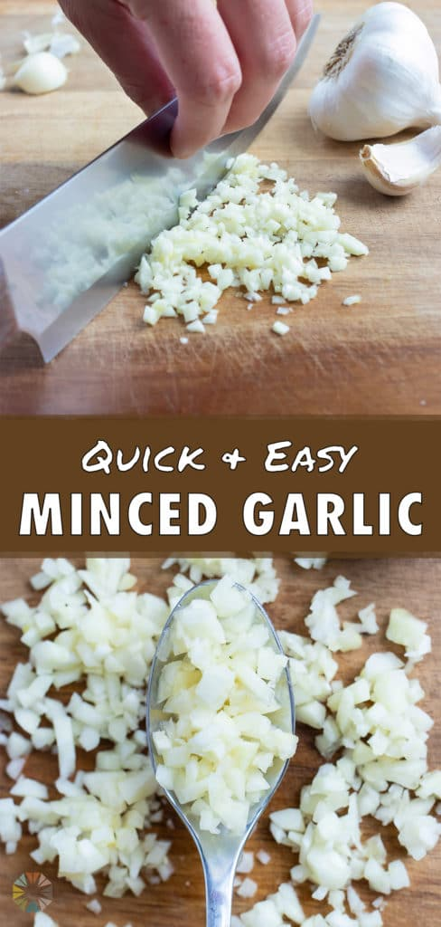 Minced garlic is shown on a cutting board next to a knife.