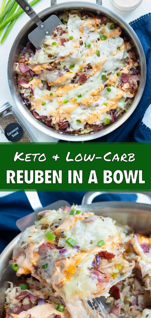 Reuben in a bowl is served for a gluten-free, low-carb meal.