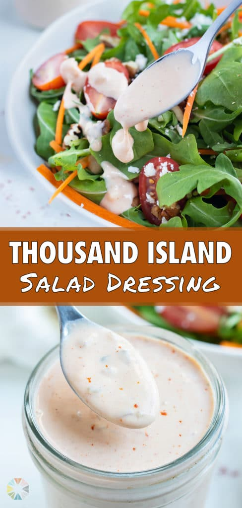 Homemade thousand island dressing is spooned over a green salad.