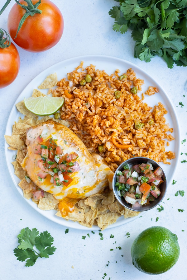 An overhead pictures shows a plate of Fiesta lime chicken and rice.