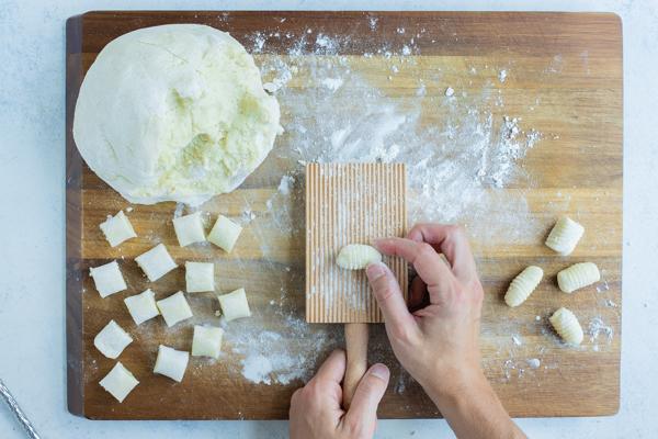 Gnocchi is formed using a gnocchi board.