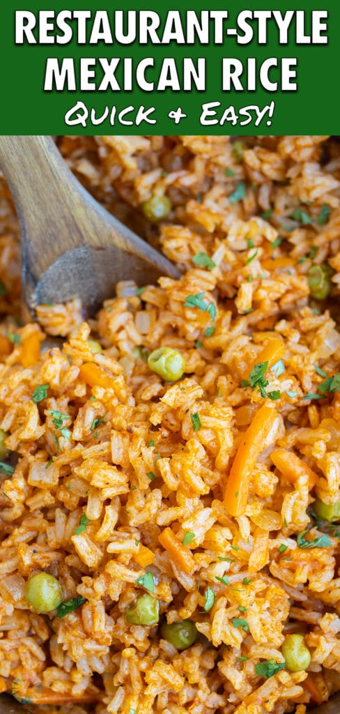 Restaurant-style Mexican rice is made with spices for authentic flavors.
