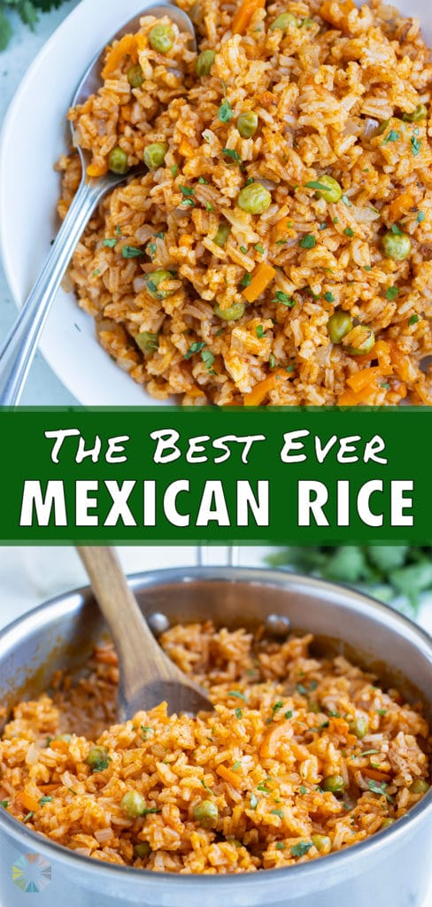 Mexican rice is served as a healthy side dish.
