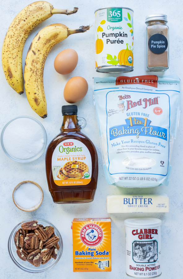 Banana, eggs, pumpkin puree, flour, spices, butter, baking soda, baking powder, maple syrup, sugar are the ingredients in this recipe.