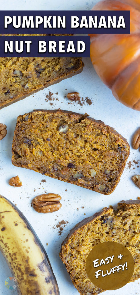 Slices of pumpkin banana bread are set on the counter.