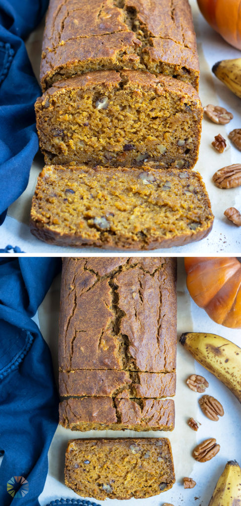 Pumpkin banana bread is shown on the counter in slices.