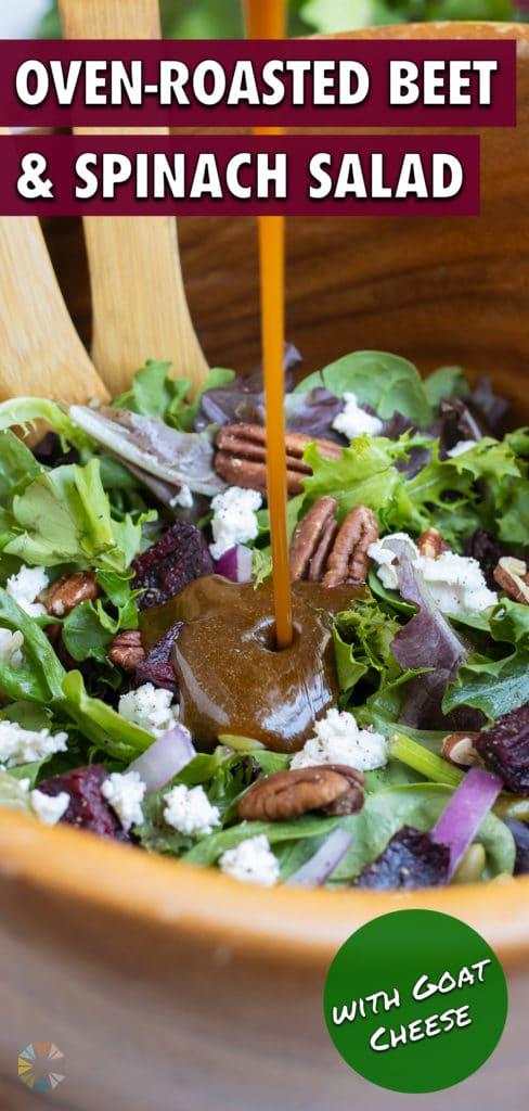 Homemade vinaigrette is poured over roasted beet salad.
