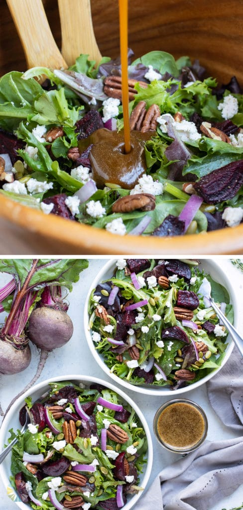 Warm fall salads are served with balsamic vinaigrette for a holiday dish.