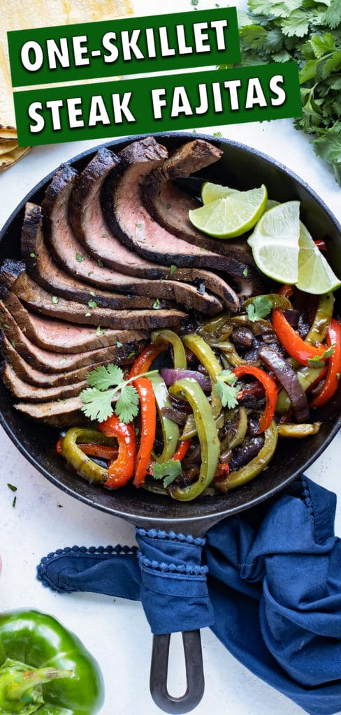 Steak Fajitas are made in a cast iron skillet for a healthy dinner.