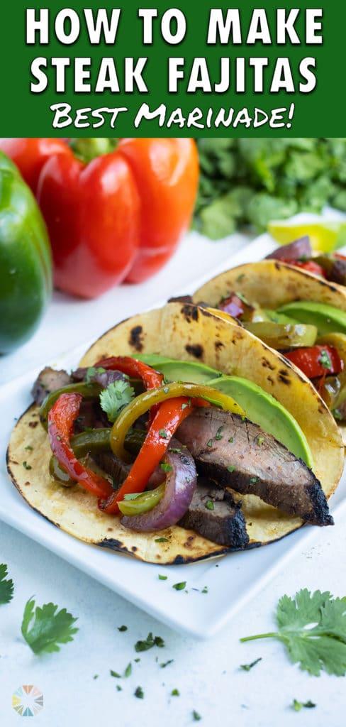 Steak fajitas are enjoyed in crisp corn tortillas.