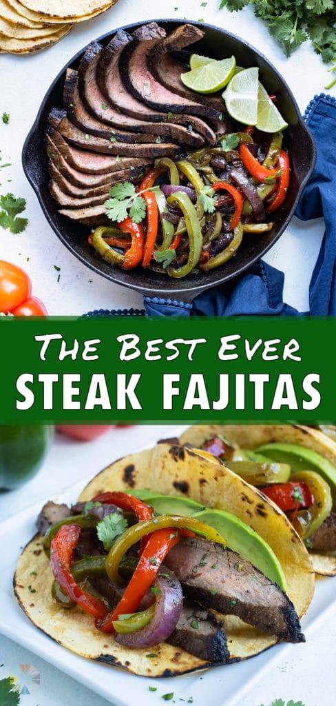 Rows of steak fajitas are shown on a white platter.
