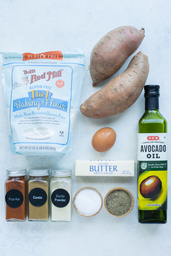 Sweet potatoes, an egg, butter, oil, flour, and seasonings are the ingredients for this recipe.